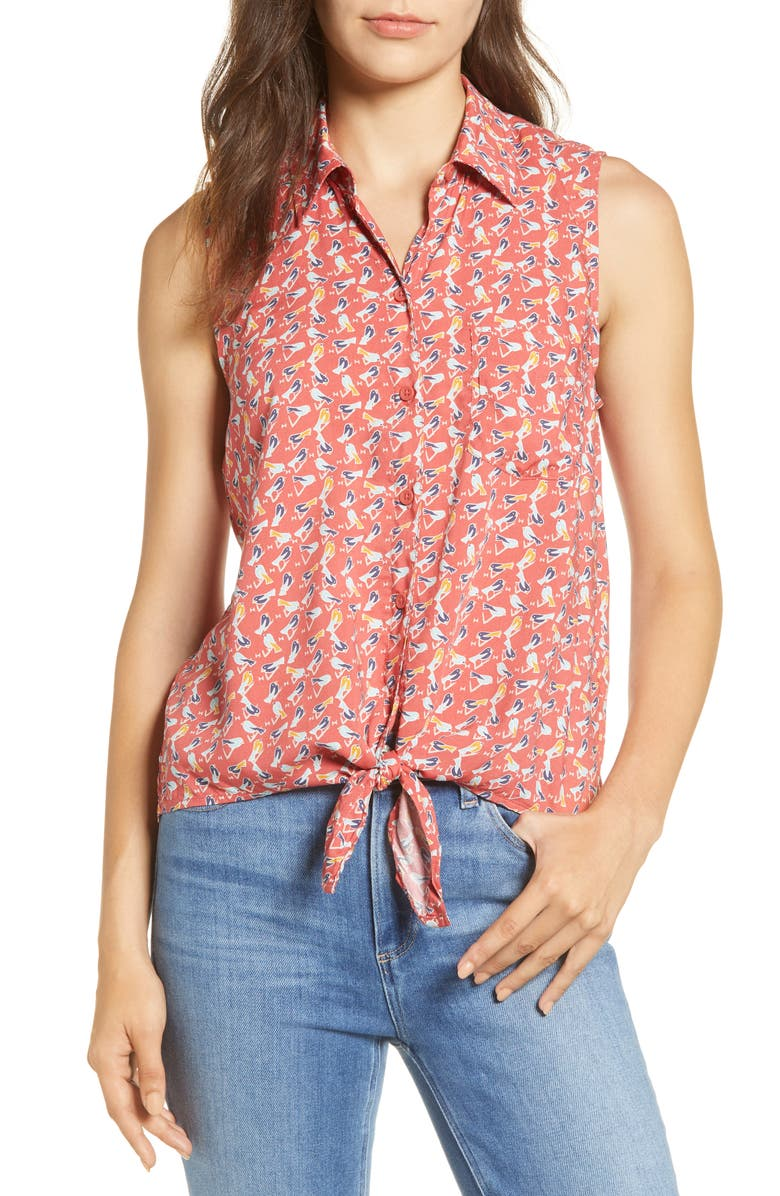 BEACHLUNCHLOUNGE Janera Print Tie Front Rayon Top, Main, color, OLSEAU