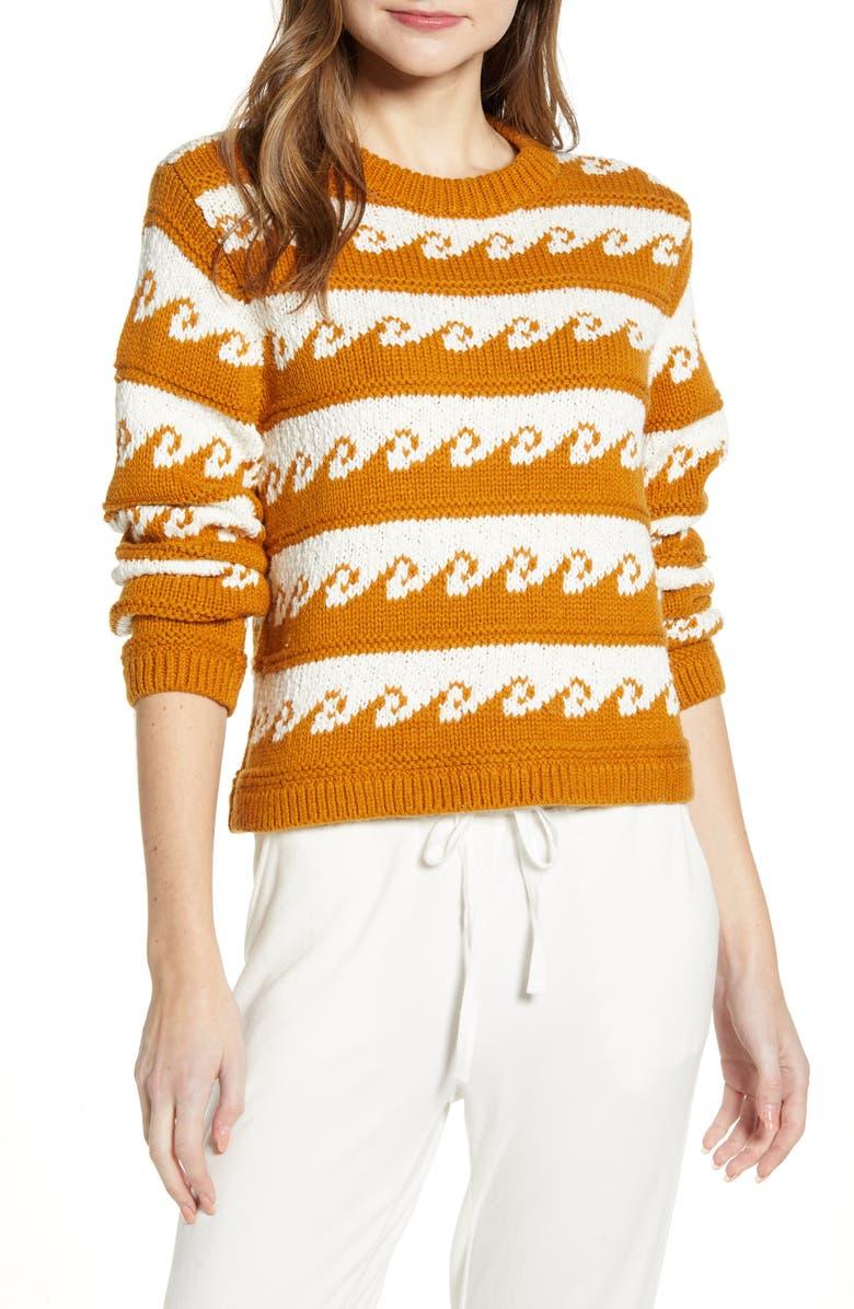 LOU & GREY Romina Ride the Wave Crewneck Sweater, Main, color, WARM MARMALADE