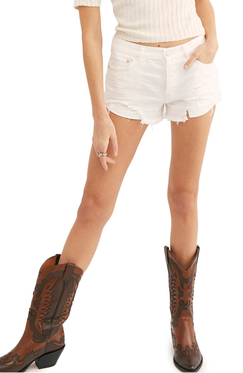 FREE PEOPLE Loving Good Vibrations Cutoff Denim Shorts, Main, color, SPRING WHITE
