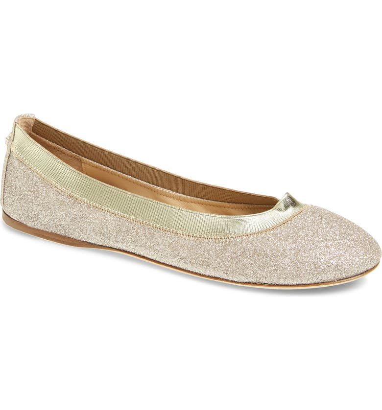 JIMMY CHOO Gwenda Glitter Flat, Main, color, PLATINUM ICE