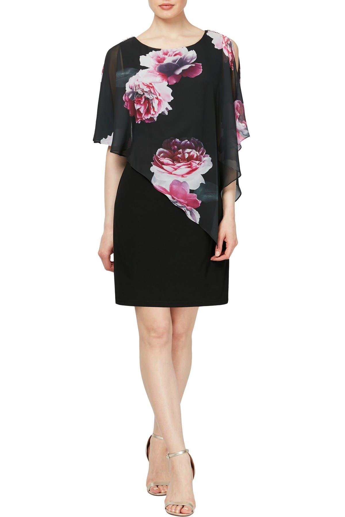 Image of SLNY Floral Chiffon Overlay Sheath Dress