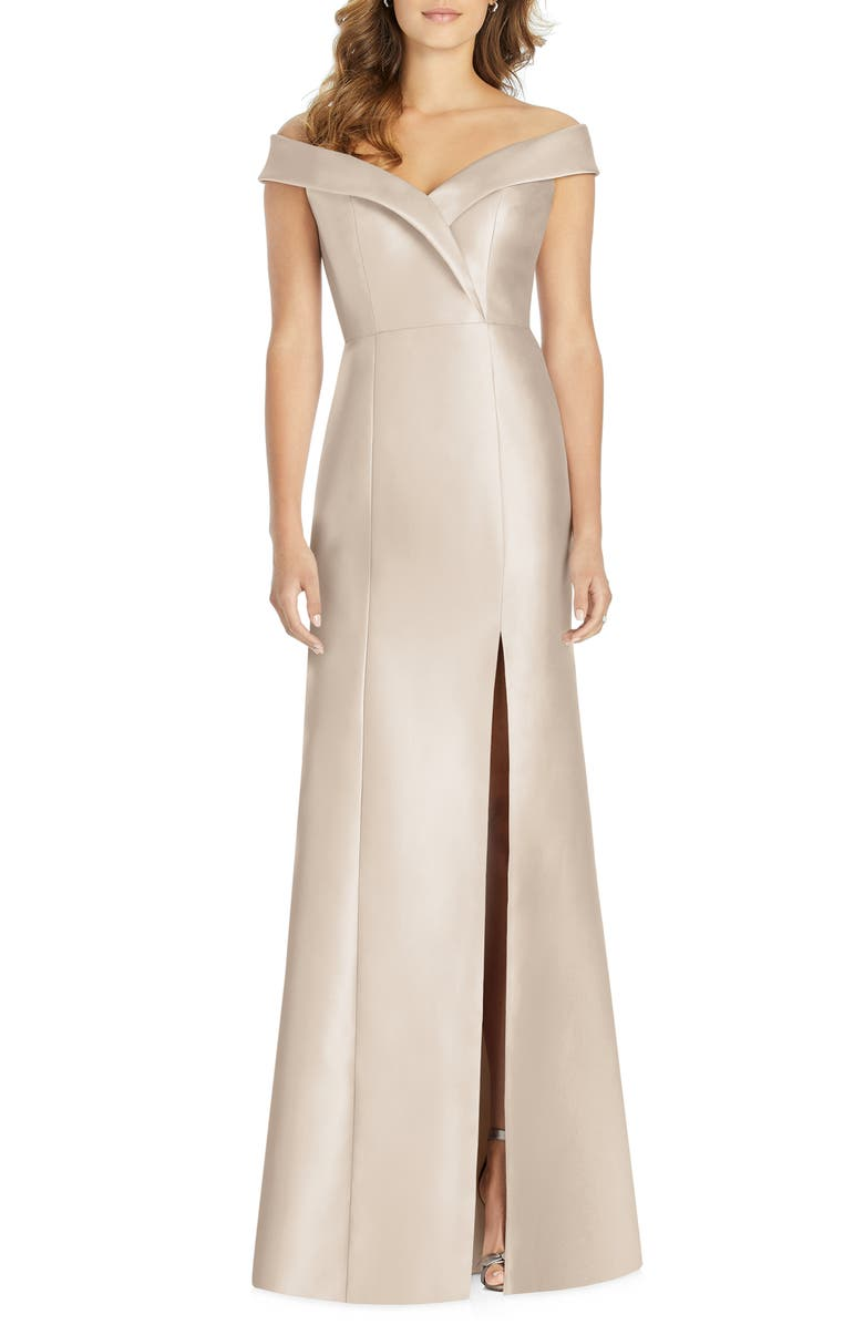 ALFRED SUNG Portrait Collar Satin Trumpet Gown, Main, color, CAMEO