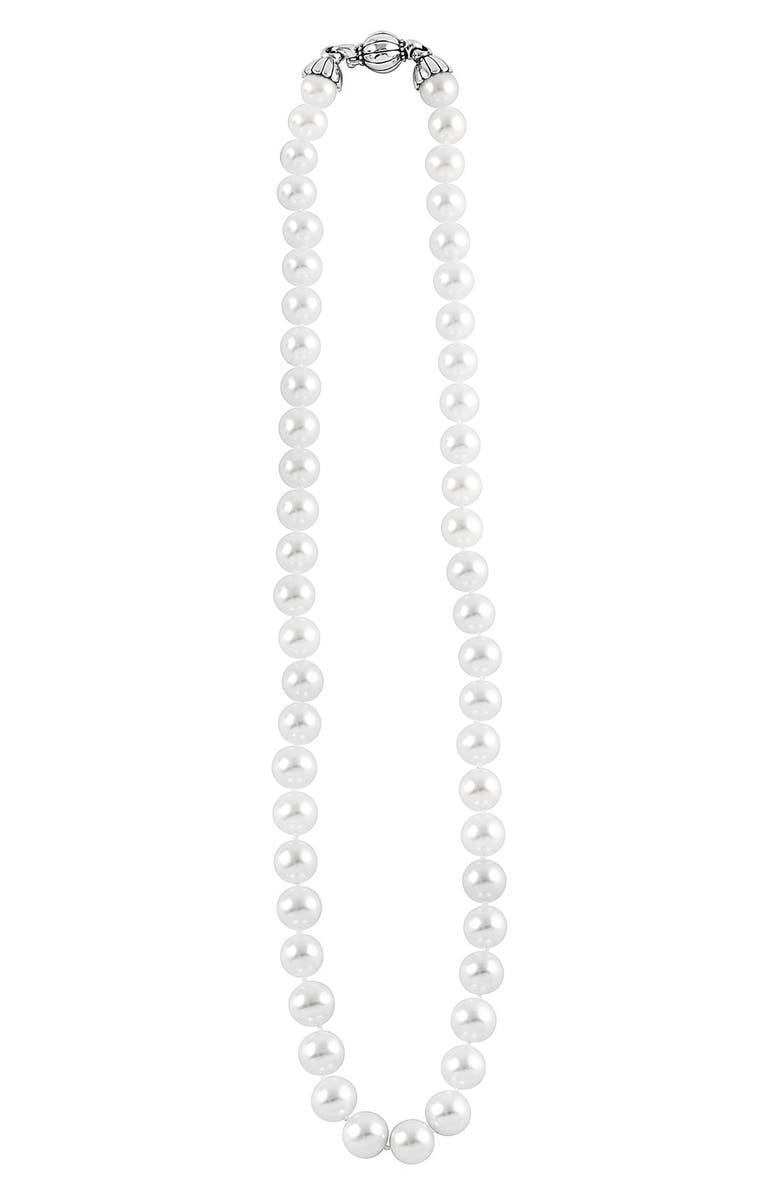 LAGOS 'Luna' 10mm Pearl Necklace, Main, color, SILVER/ PEARL