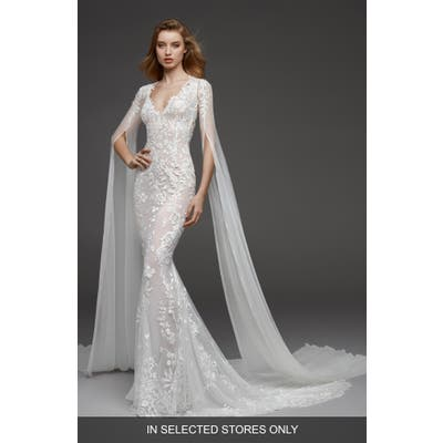 Atelier Pronovias Calas Embroidered Tulle Trumpet Gown, Size - Ivory
