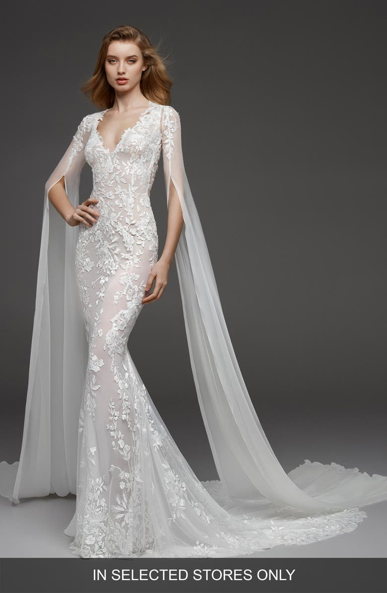 ATELIER PRONOVIAS Calas Embroidered Tulle Trumpet Gown, Main, color, OFF WH
