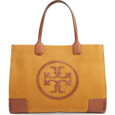 Tory Burch Ella Whipstitch Logo Suede Tote - Yellow