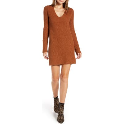 Something Navy Fitted Long Sleeve Tunic Sweater Dress, Brown (Nordstrom Exclusive)