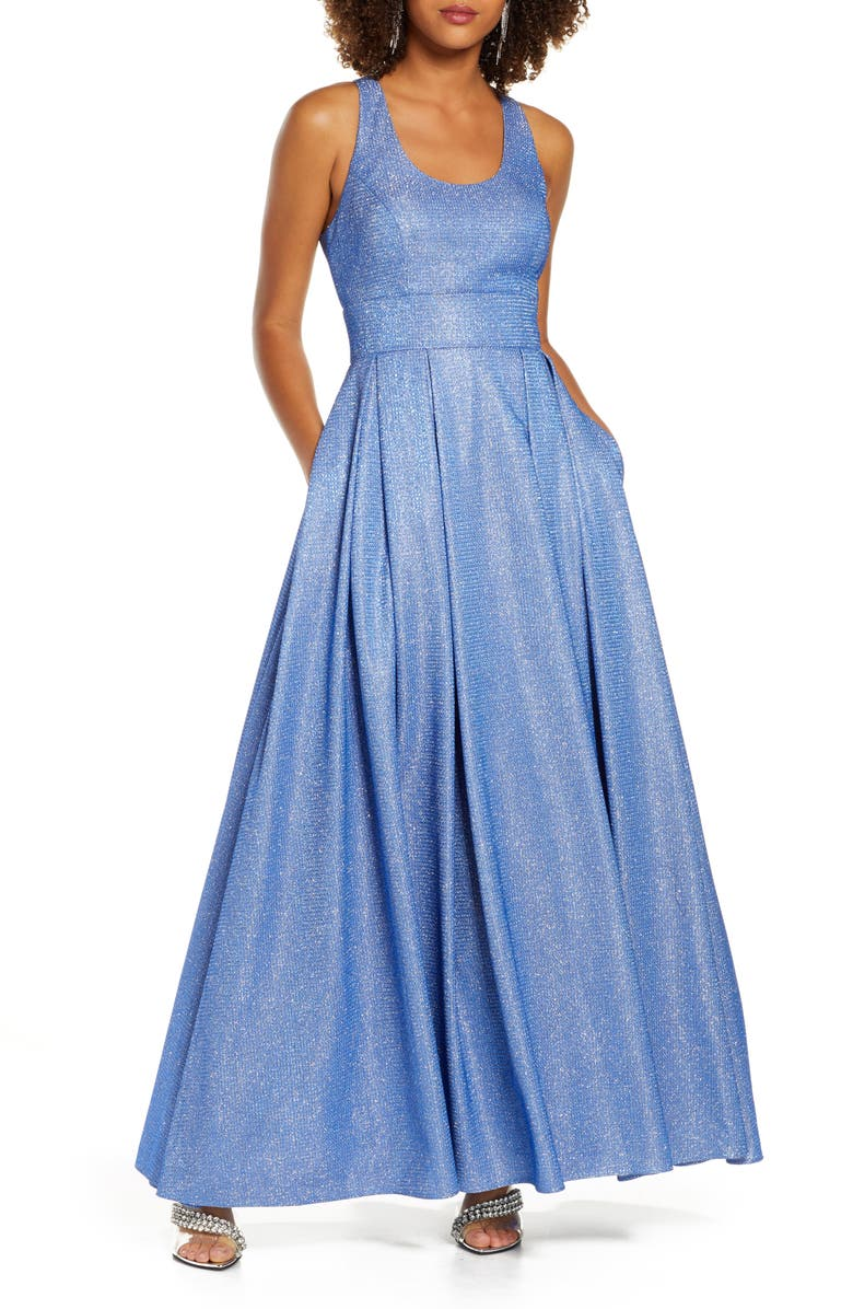 MORGAN & CO. Shimmer Pleat Ballgown, Main, color, BLUE/ SILVER