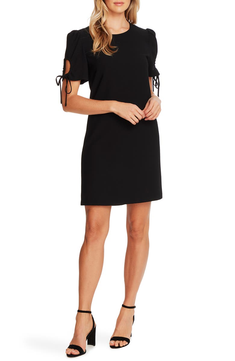 CECE Keyhole Puff Sleeve Crepe A-Line Dress, Main, color, RICH BLACK