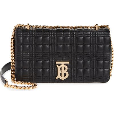 Burberry Quilted Check Leather Shoulder Bag - Black