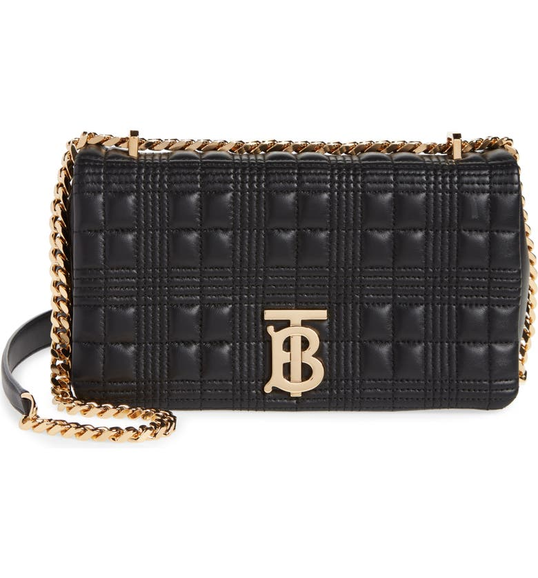 BURBERRY Quilted Check Leather Shoulder Bag, Main, color, BLACK/ BLACK