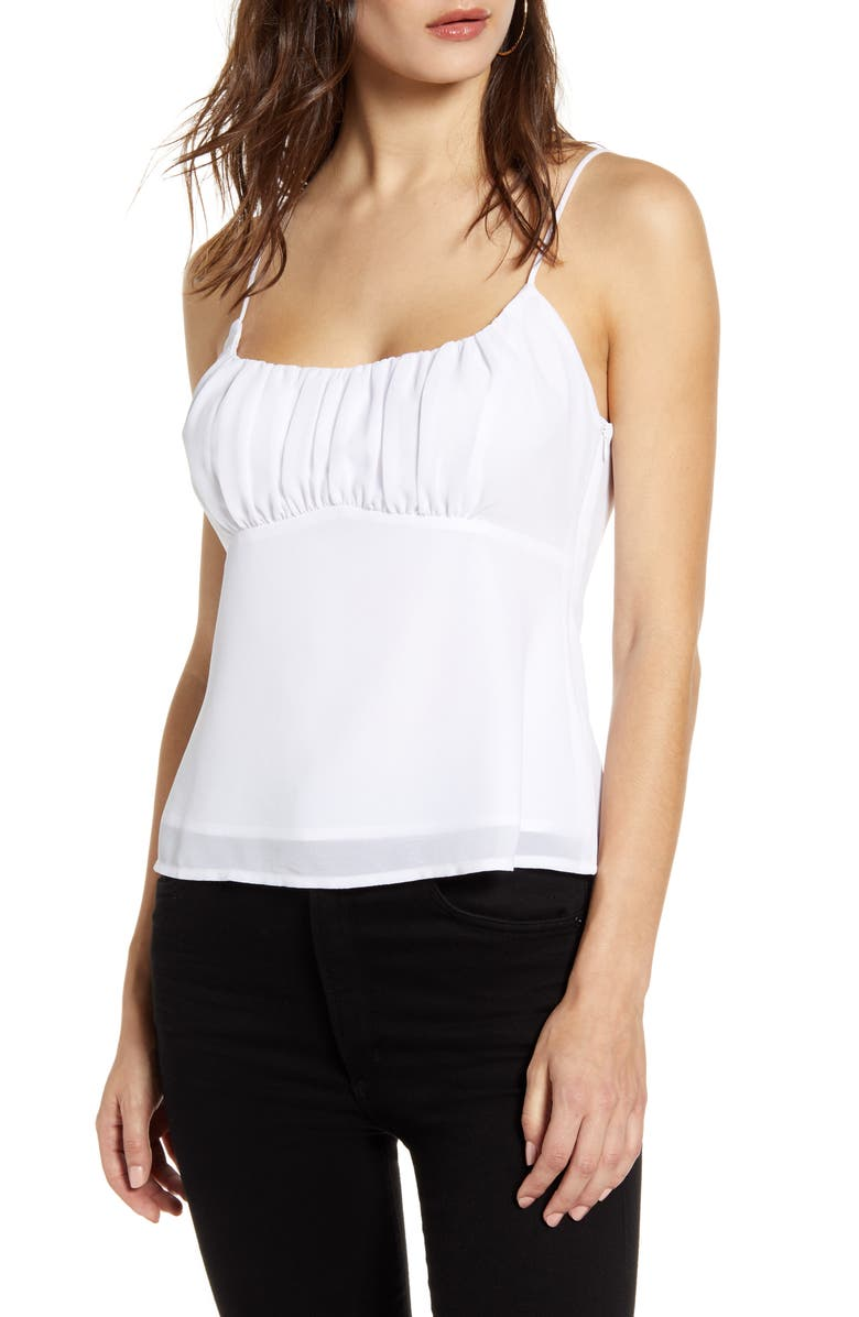 ASTR THE LABEL Shirred Camisole, Main, color, WHITE