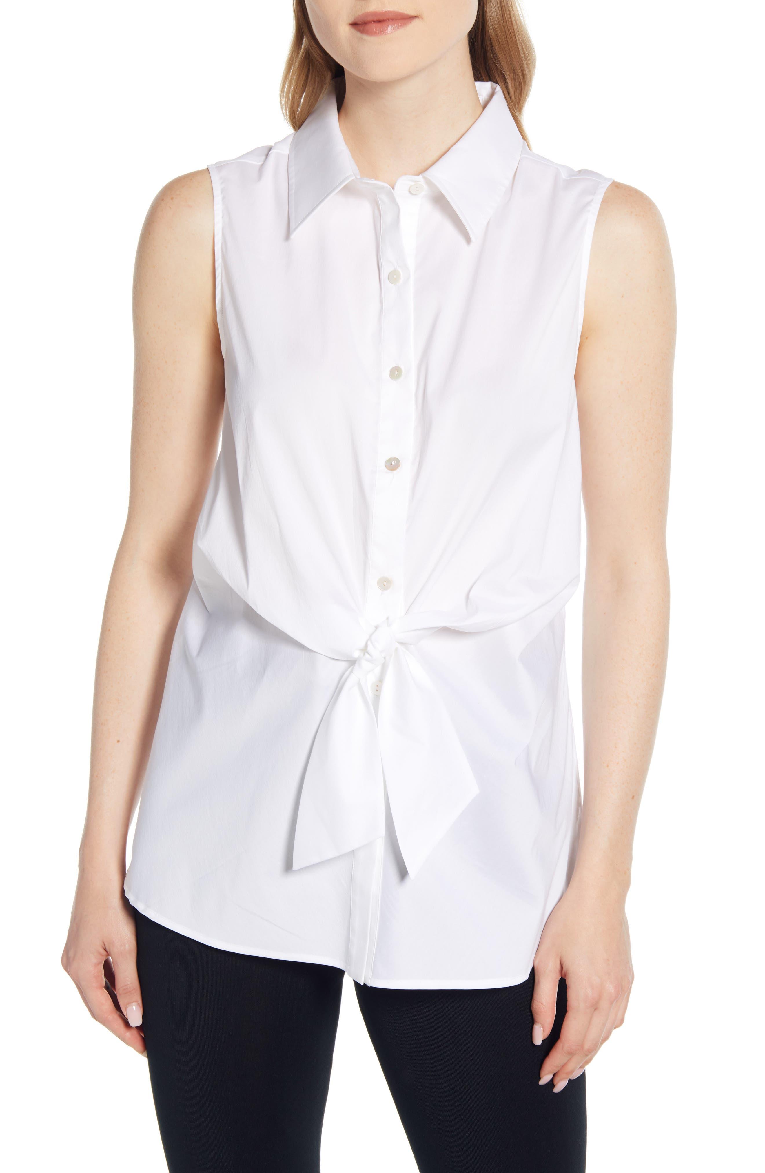 Ming Wang Tie Sleeveless Shirt, White