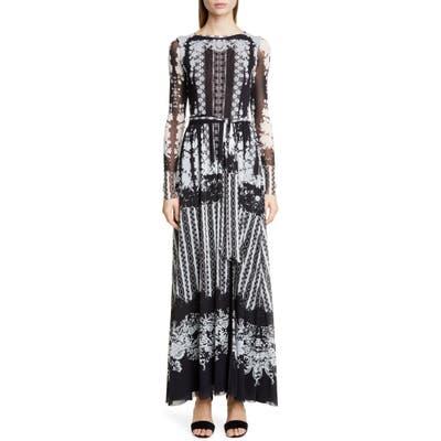 Fuzzi Lace Print Belted Long Sleeve Maxi Dress, Black