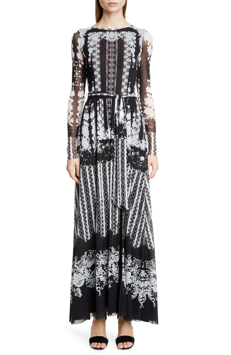 FUZZI Lace Print Belted Long Sleeve Maxi Dress, Main, color, BLACK