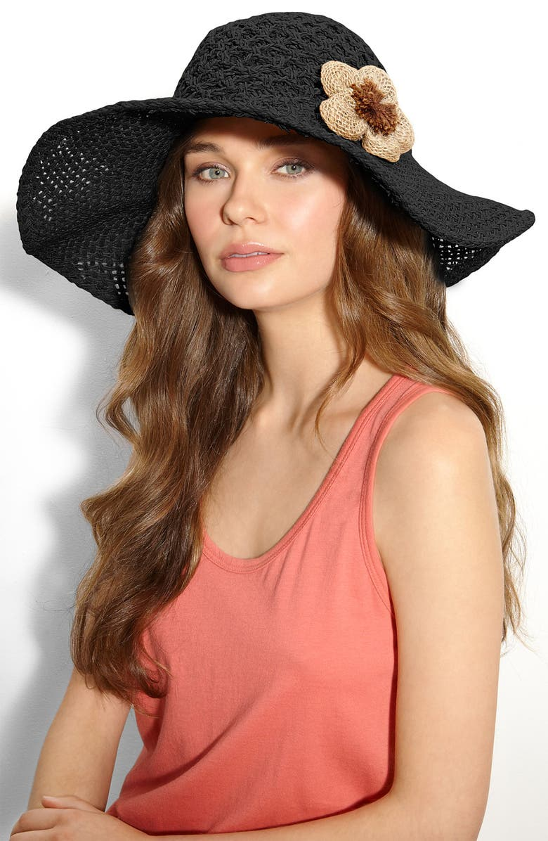 CARA Accessories Straw Hat, Main, color, 001