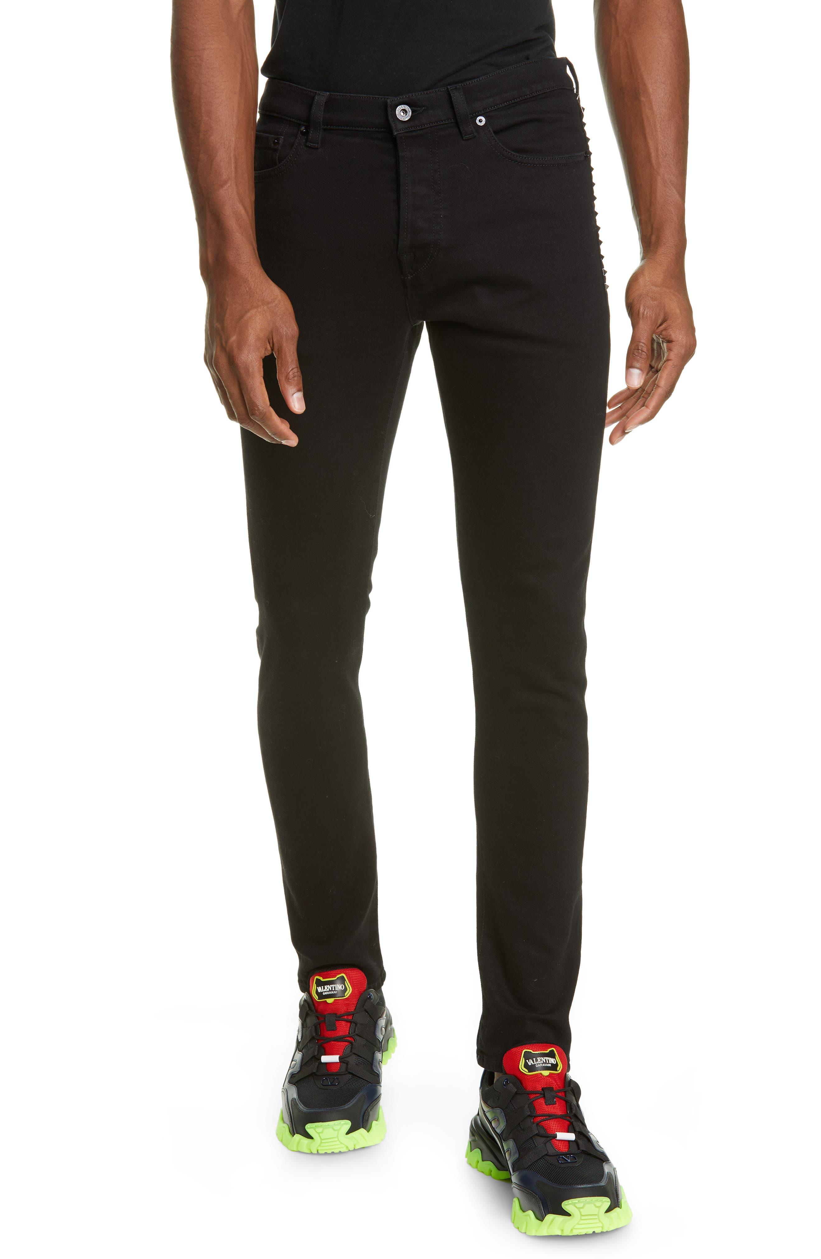 Men's Valentino Rockstud Skinny Jeans,  30 - Black