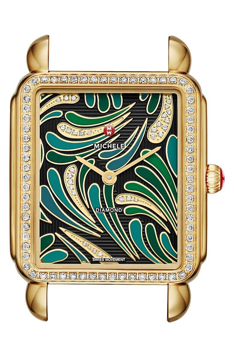 MICHELE 'Deco II Diamond' Diamond Dial Watch Case, 30mm x 32mm, Main, color, 300