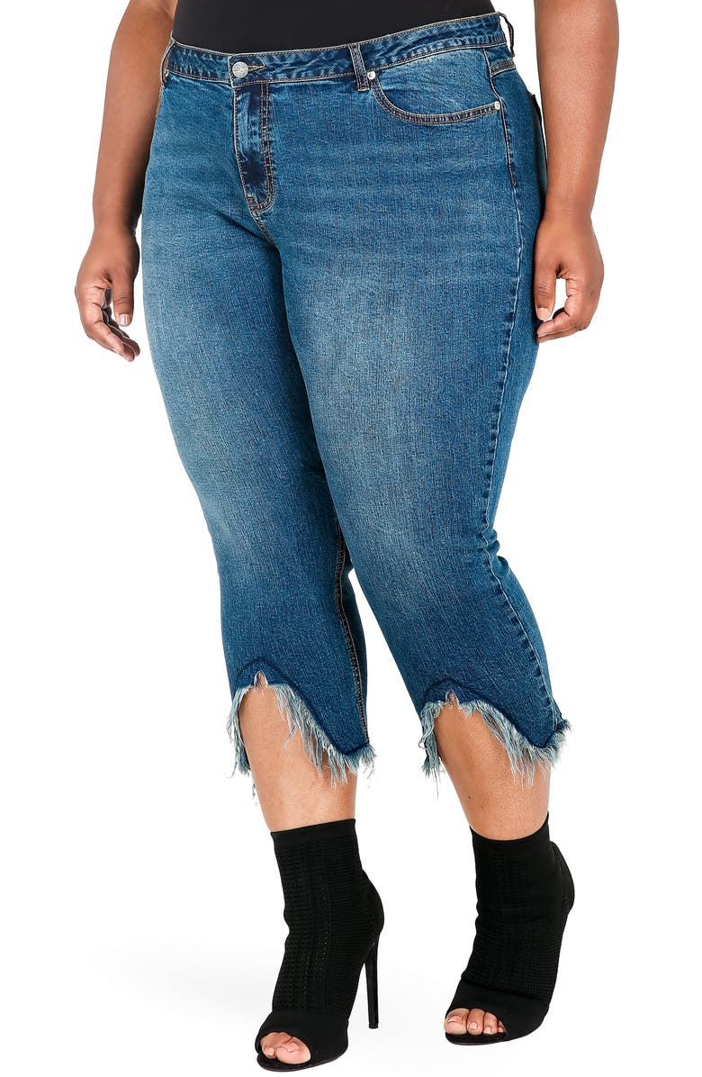 POETIC JUSTICE Faye Frayed Crop Jeans, Main, color, BLUE