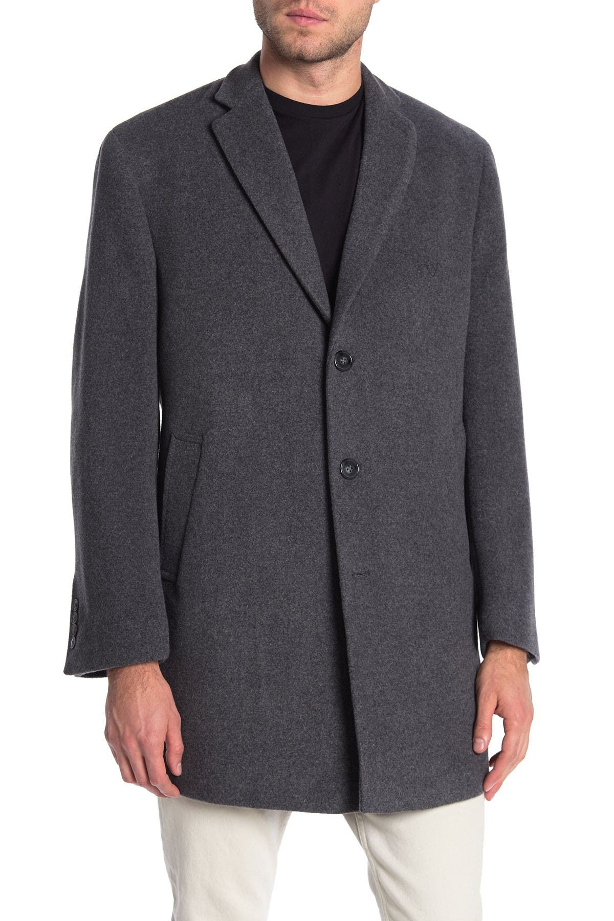 Image of Calvin Klein Heathered Three Button Notch Lapel Slim Fit Coat
