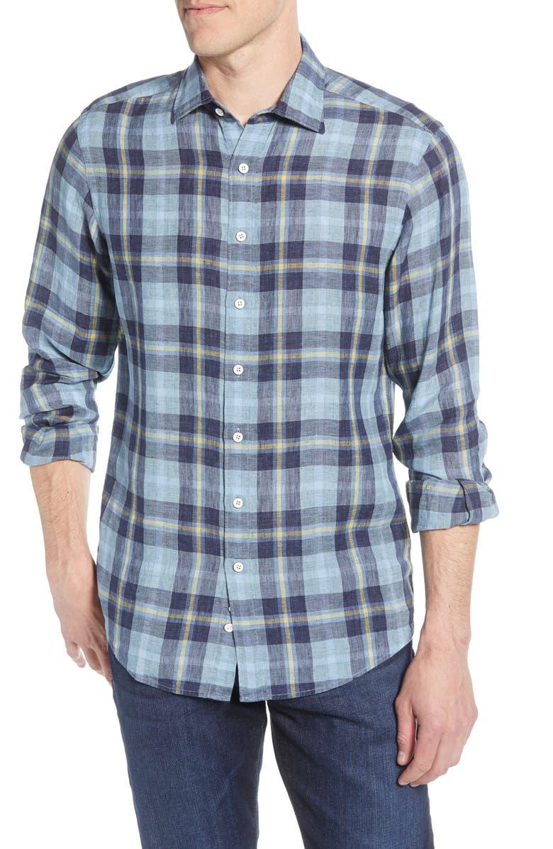 RODD & GUNN Revells Regular Fit Plaid Linen Button-Up Shirt, Main, color, STONEWASH