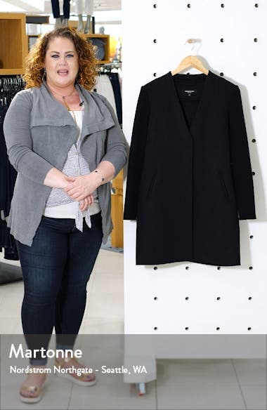 Knit Sleeve Double Face Wool Blend Coat, sales video thumbnail