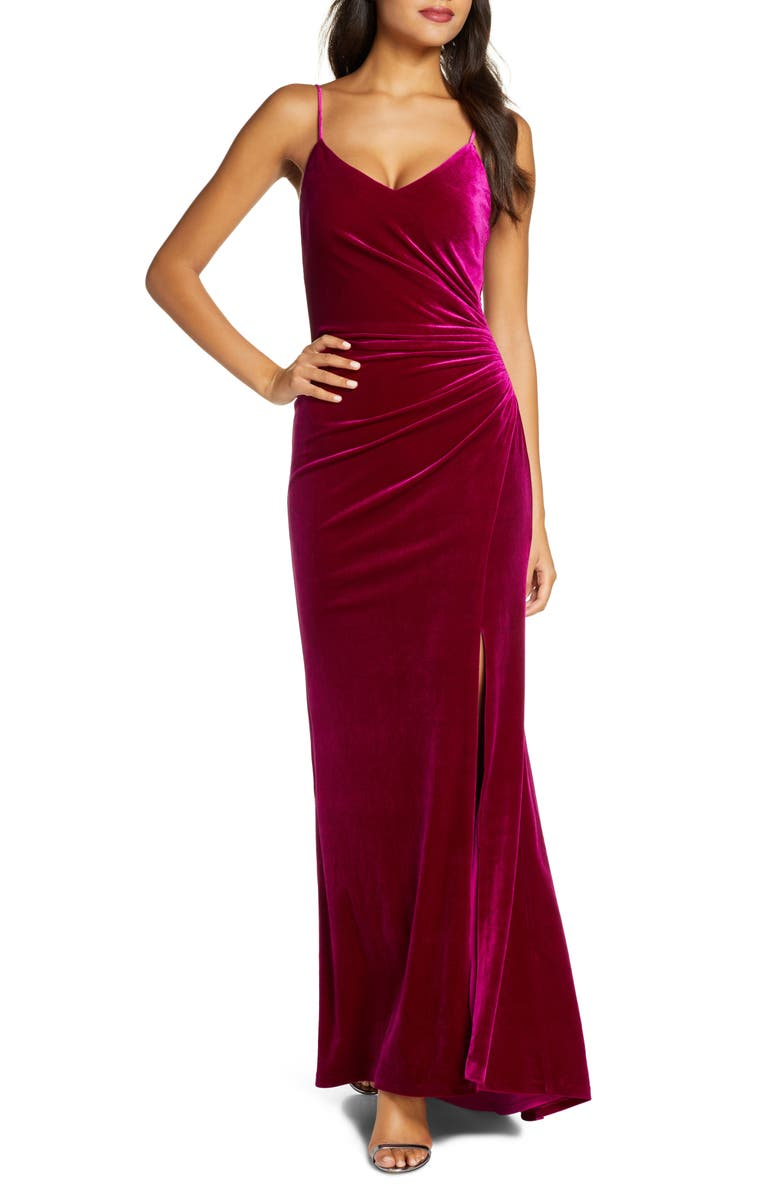 VINCE CAMUTO Ruched Side Slit Velvet Evening Gown, Main, color, FUCHSIA