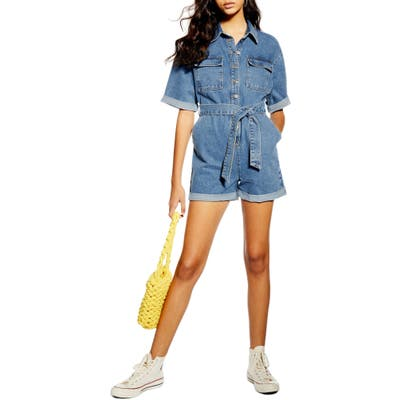 Petite Topshop Denim Button-Down Romper, P US (fits like 10-12P) - Blue