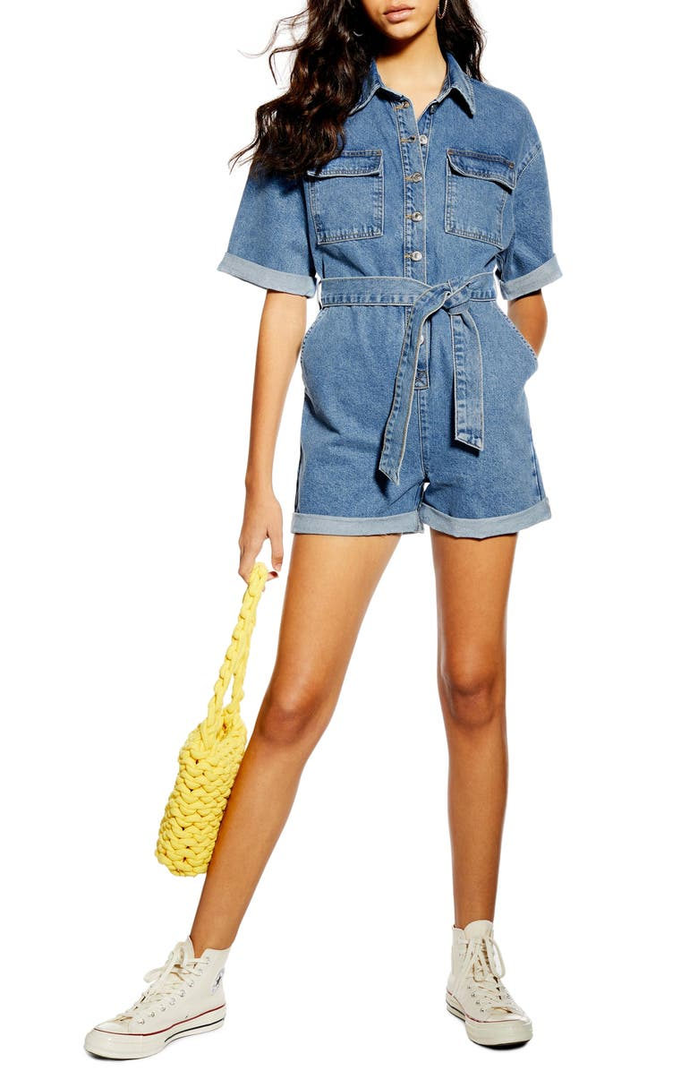TOPSHOP Denim Button-Down Romper, Main, color, MID DENIM