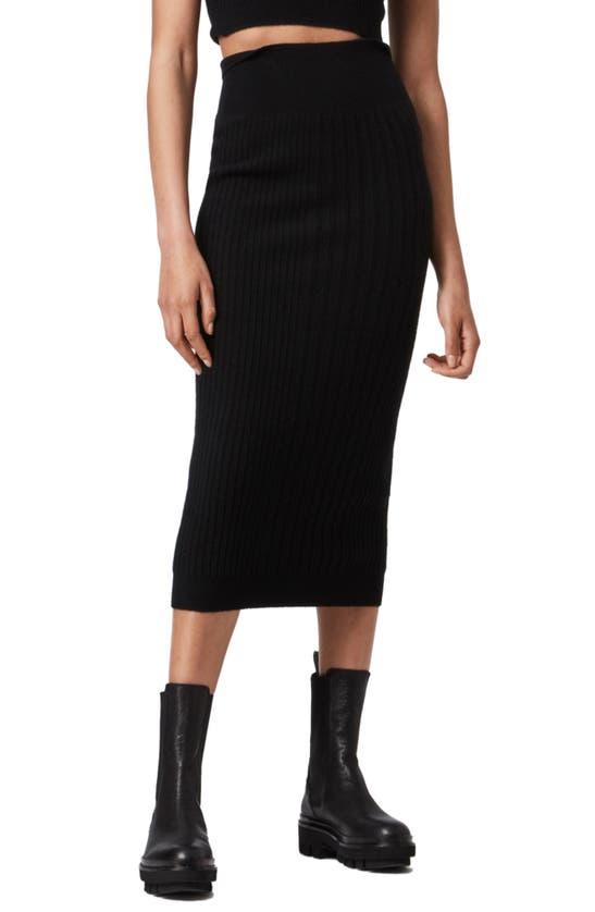 Allsaints Skirts ENYA RIBBED WOOL BLEND SKIRT