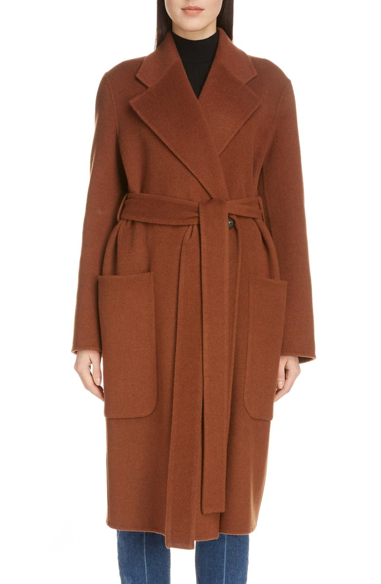 ACNE STUDIOS Carice Double Breasted Coat, Main, color, RUSTY BROWN