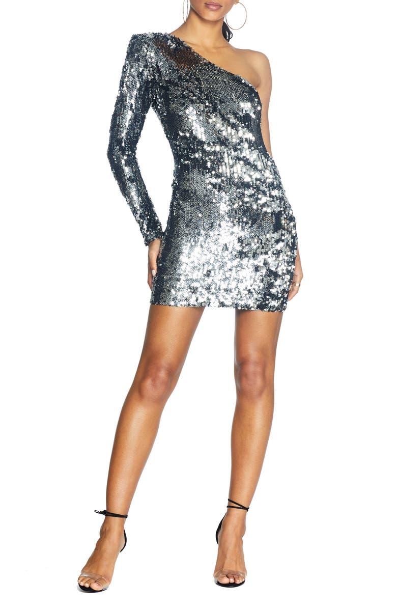 COSMOPOLITAN DRESS THE POPULATION Sophie Sequin One-Shoulder Mini Dress, Main, color, SILVER - BLACK