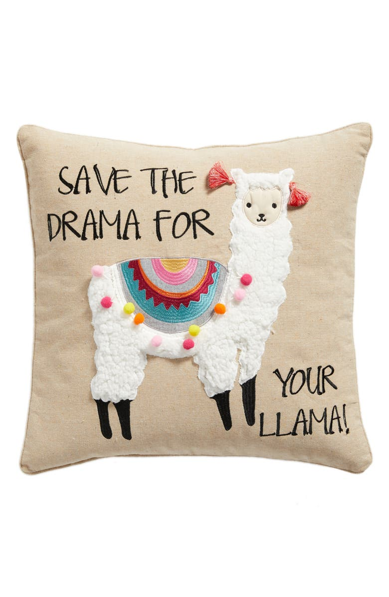 LEVTEX Save the Drama For Your Llama Pillow, Main, color, 250