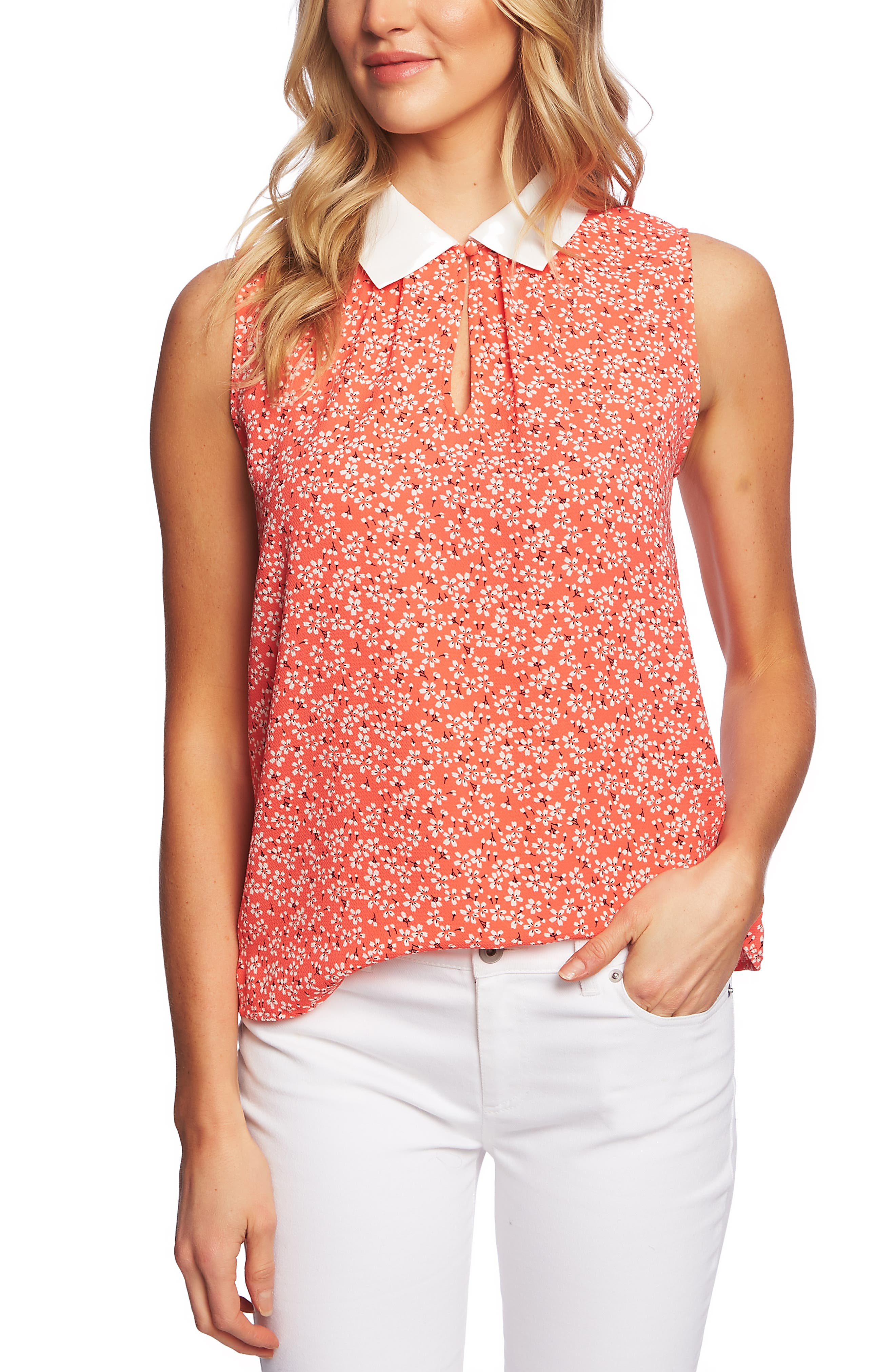 Image of CeCe by Cynthia Steffe Sakura Delight Floral Sleeveless Blouse