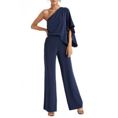 Halston Heritage One-Shoulder Jumpsuit, Blue