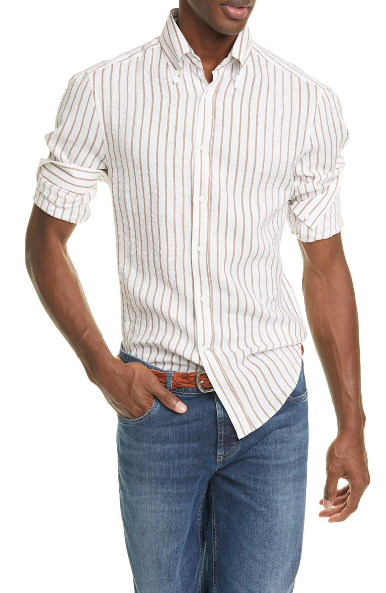 BRUNELLO CUCINELLI Slim Fit Stripe Linen Button-Down Shirt, Main, color, 230