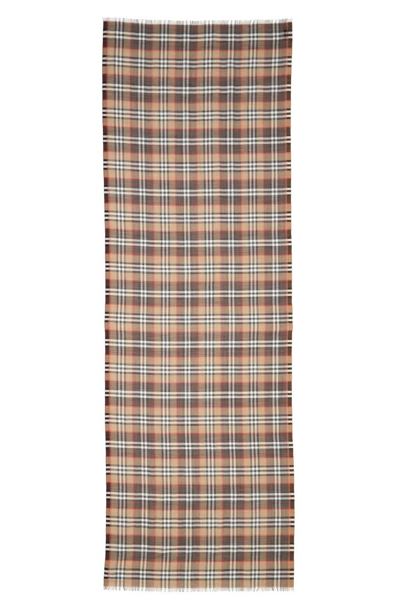 BURBERRY Vintage Check Wool & Silk Scarf, Main, color, MAHOGANY