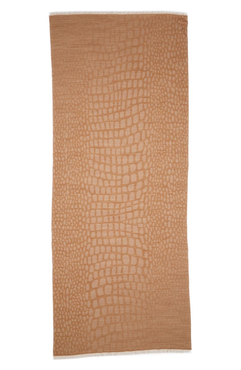 MAX MARA Animal Spot Jacquard Wool Blend Scarf, Main, color, TOBACCO