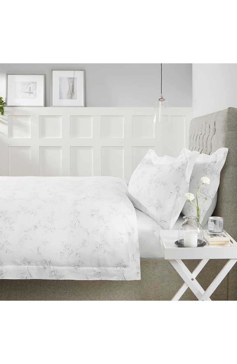 THE WHITE COMPANY Emilie Linen Duvet Cover, Main, color, 100