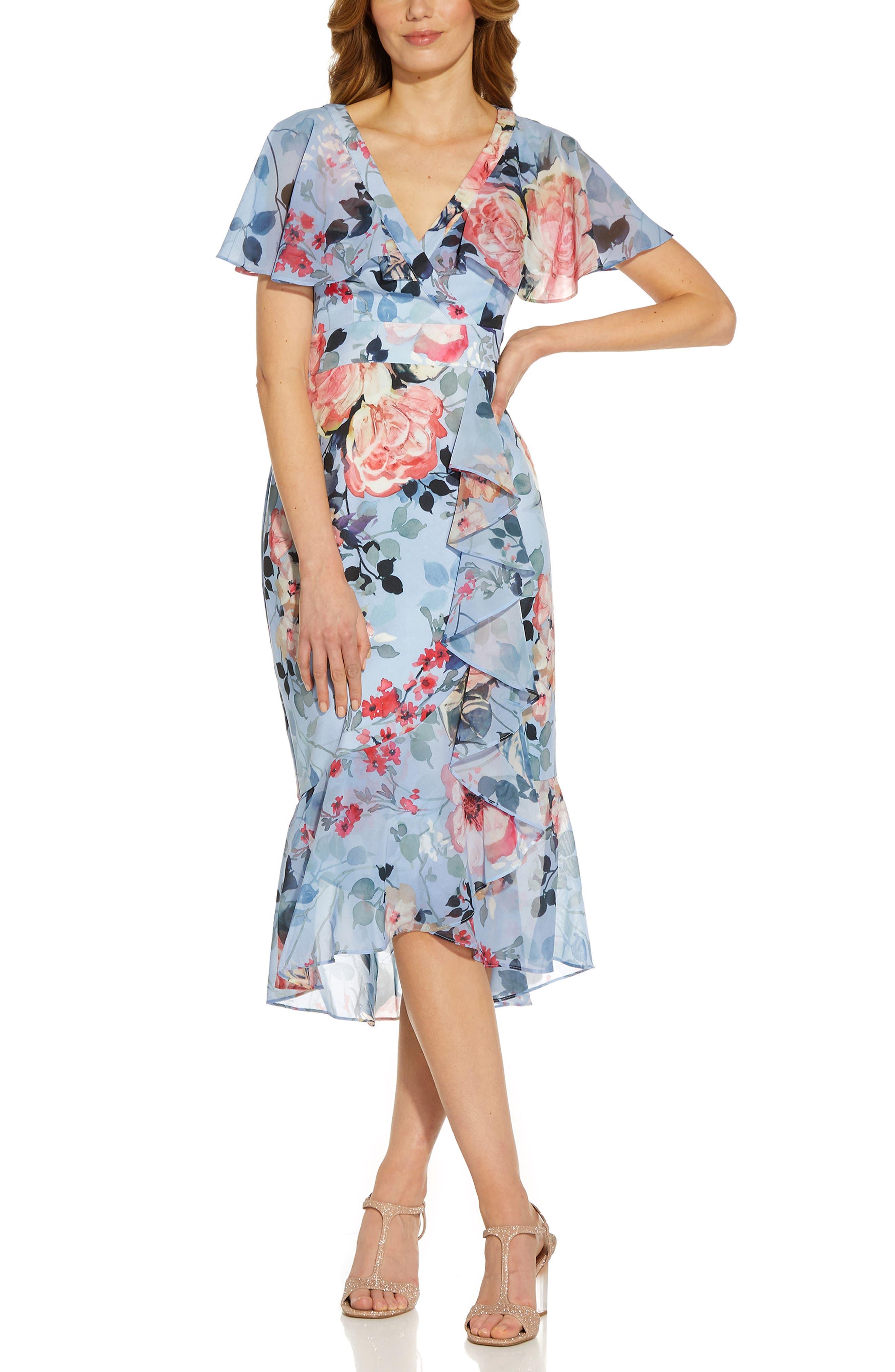 Floral Wrap Front Ruffle Midi Dress
