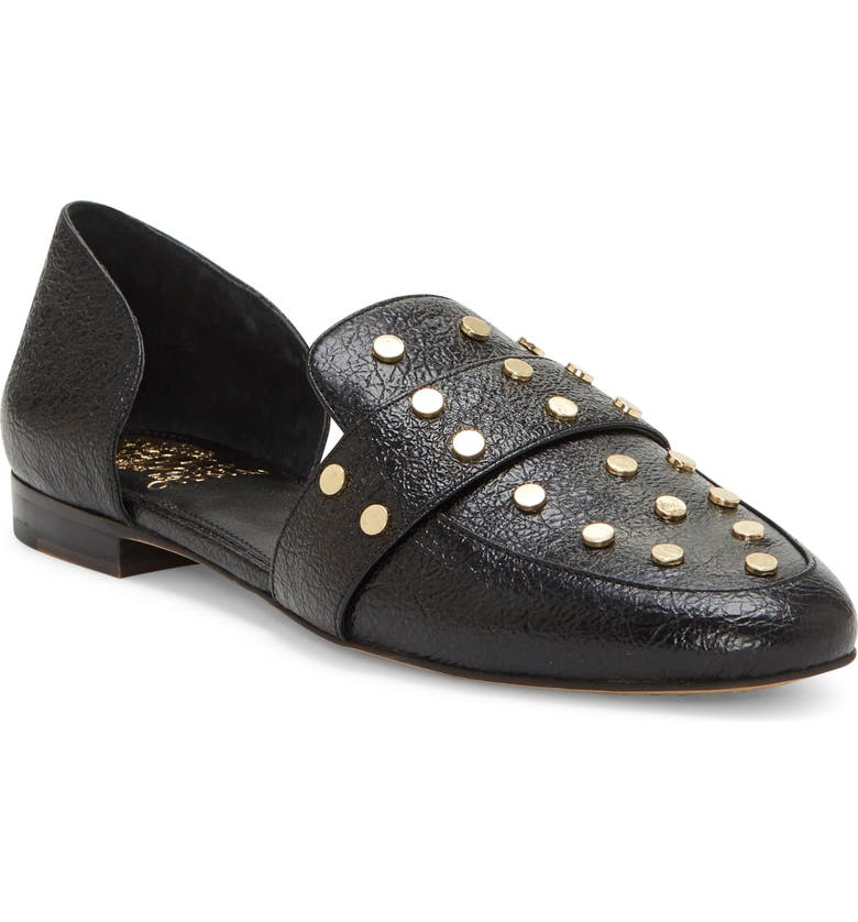 VINCE CAMUTO Wenerly Studded d'Orsay Loafer, Main, color, BLACK LEATHER