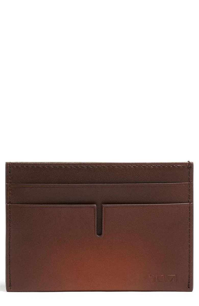 TUMI RFID Nassau Leather Money Clip Card Case, Main, color, WHISKEY BURNISHED