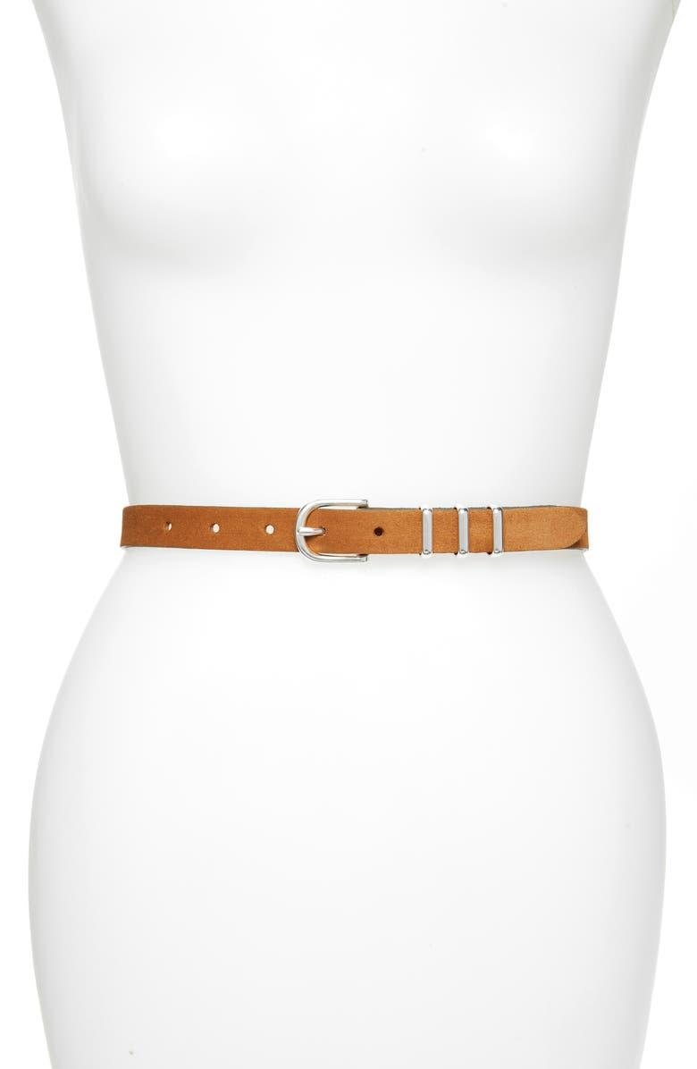 RAG & BONE Jet Leather Belt, Main, color, TBC BROWN