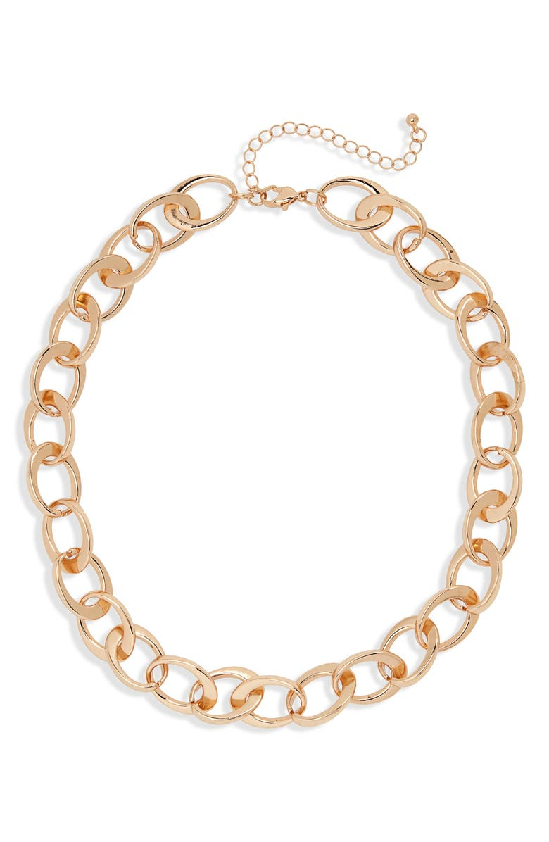 BP. Chain Link Collar Necklace, Main, color, GOLD