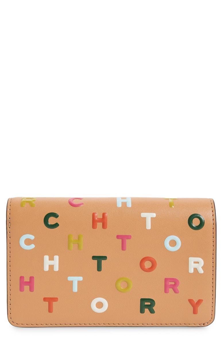 TORY BURCH Medium Letter Print Wallet, Main, color, DARK VACHETTA