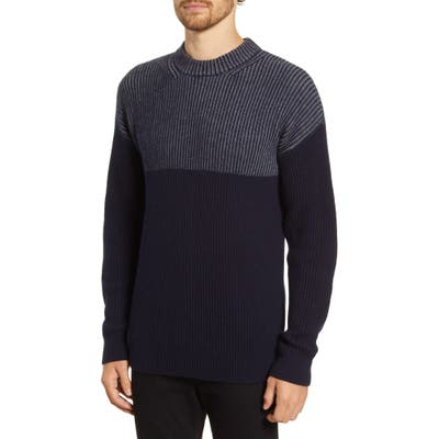 French Connection Regular Fit Stripe Fisherman Sweater, Blue