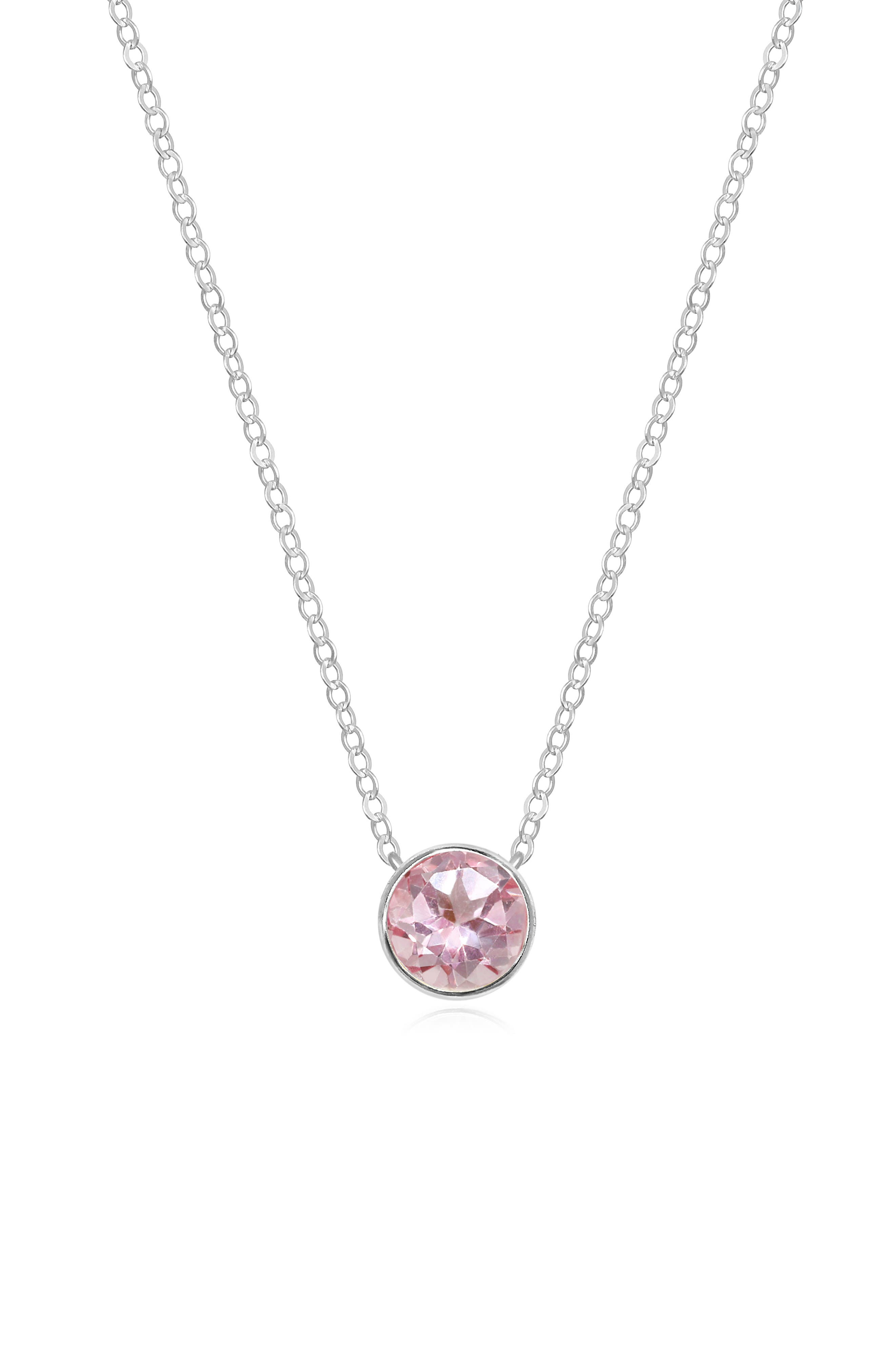 Birthstone Solitaire Pendant Necklace