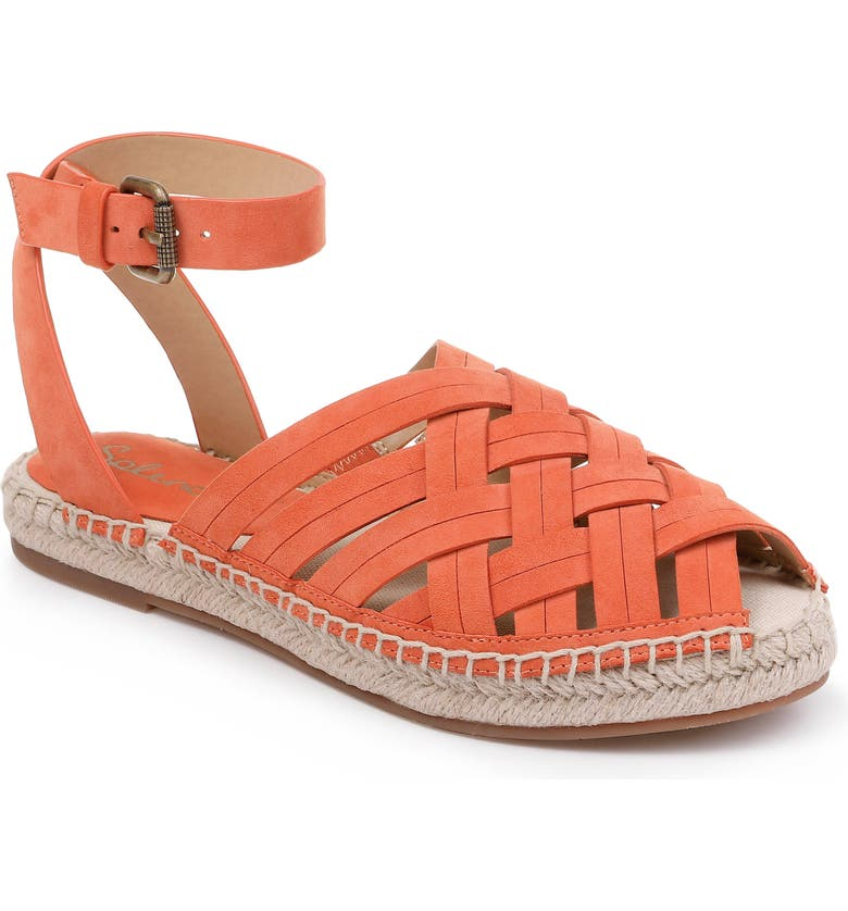 SPLENDID Sheryl Espadrille Ankle Strap Sandal, Main, color, ORANGE SUEDE