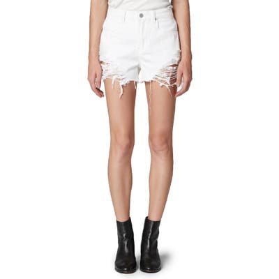 Blanknyc The Barrow Ripped High Waist Denim Shorts, White