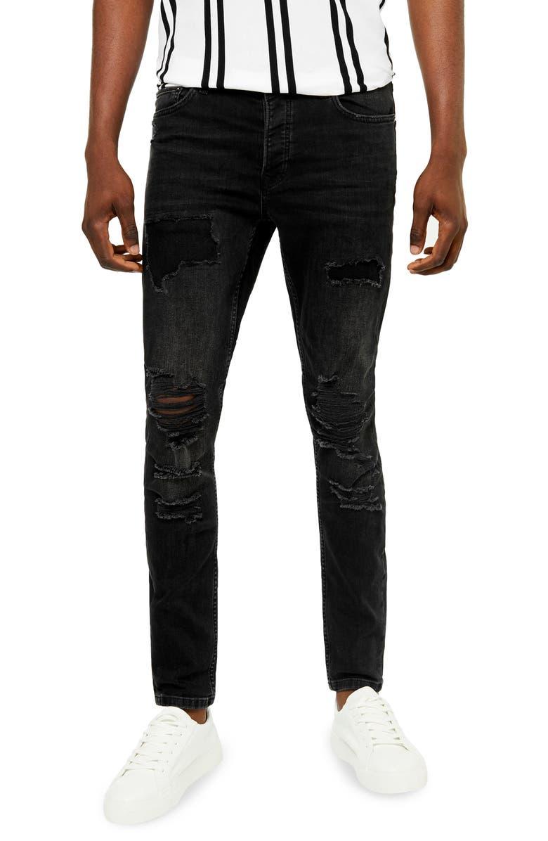 TOPMAN Ripped Skinny Jeans, Main, color, BLACK